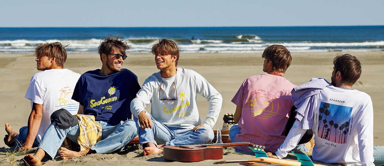 大人サーファーに似合う1枚は〈シーグリーン〉で手に入れる!ビーチで着るならやっぱり海を感じるプリTがいい!