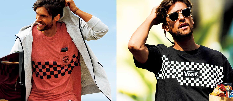 夏カジュアルの主役はやっぱり〈ヴァンズ〉!西海岸スタイルに差がつく海Tシャツと街Tシャツ!