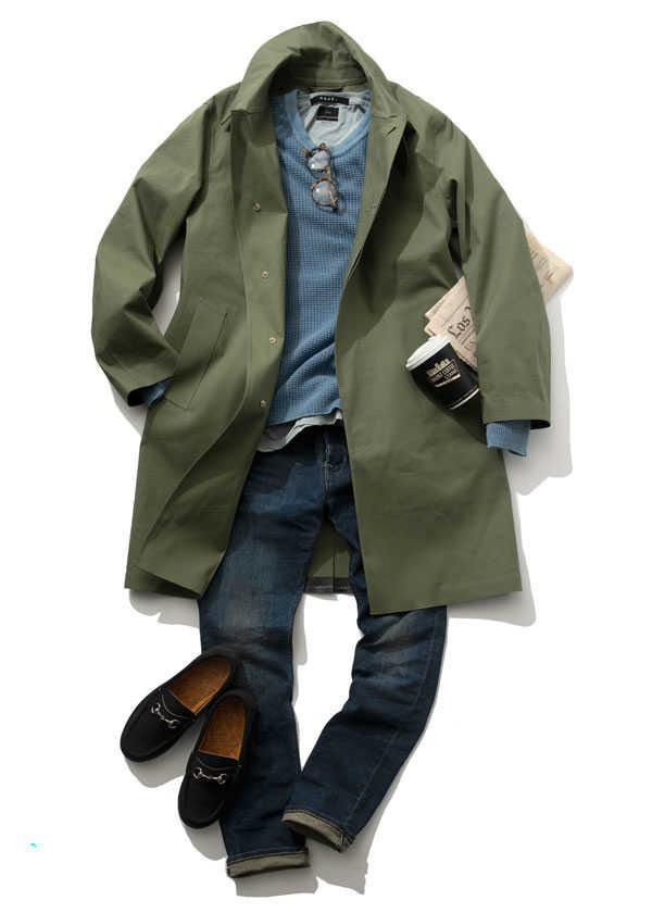 """""""ブルー""""を差し色にコートで春を迎える!"""