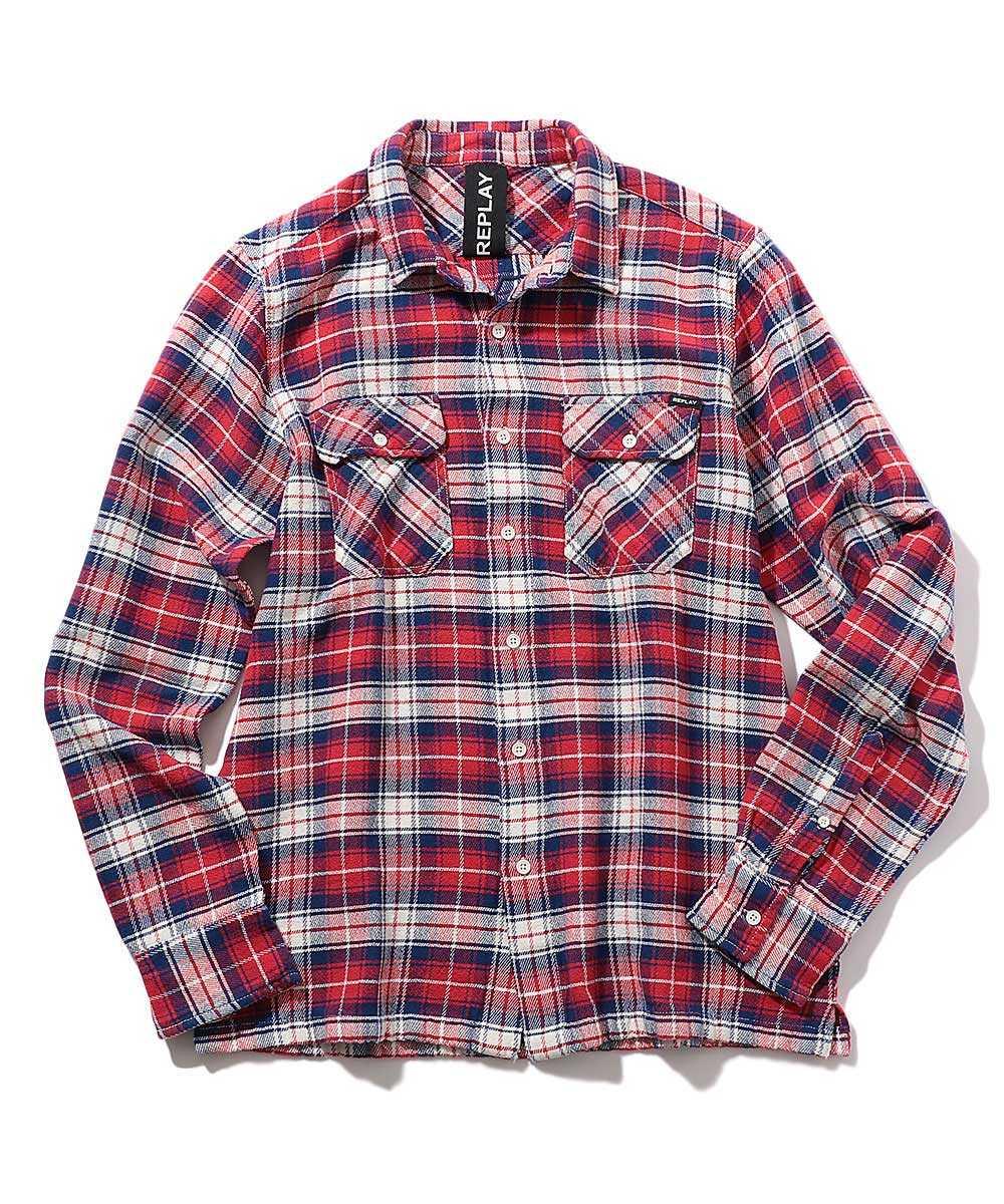 バックプリントチェックシャツ