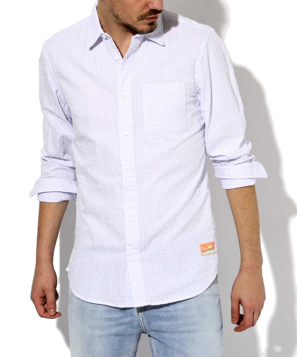 シアサッカーシャツ