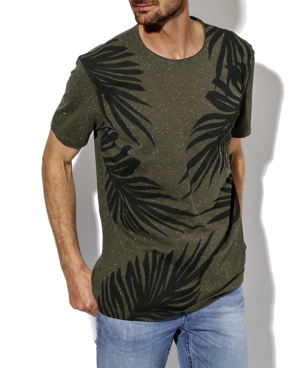 リーフプリントTシャツ