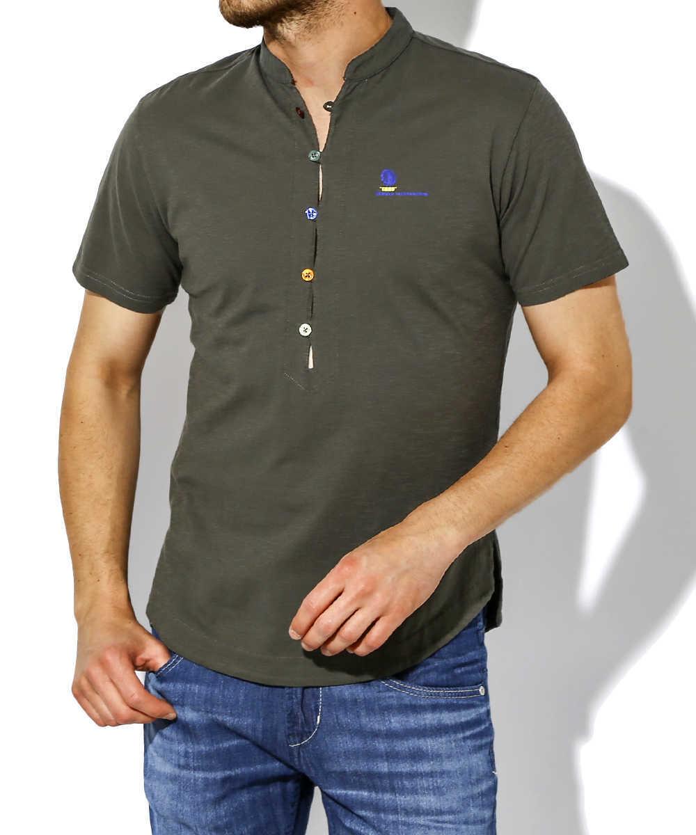 ヘンリーネックTシャツ