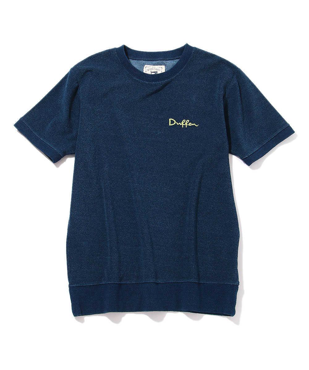 インディゴパイルクルーネックTシャツ