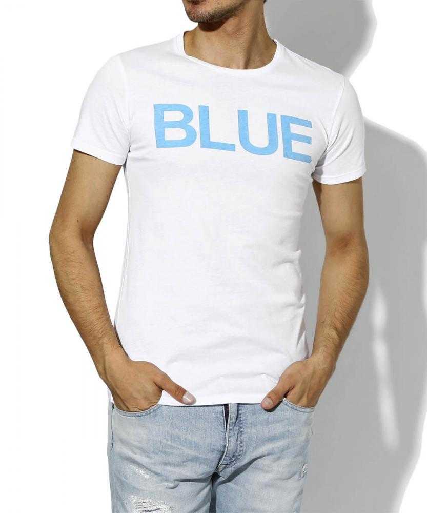 """""""ブルー""""クルーネックTシャツ"""