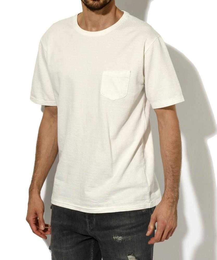 シアサッカー クルーネックポケットTシャツ