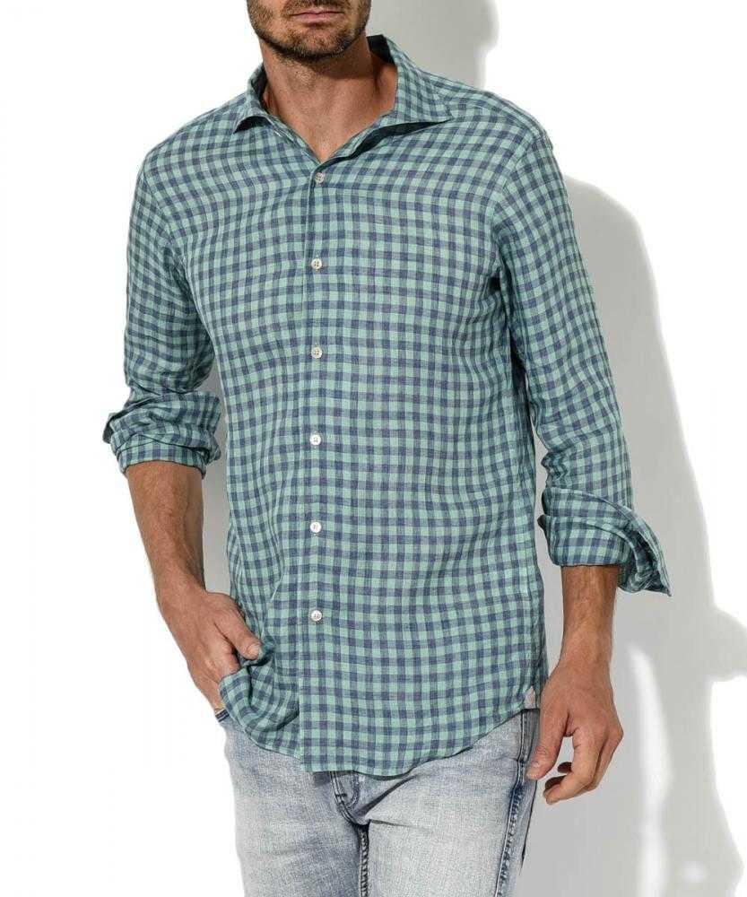 リネン平織り ギンガムチェックシャツ