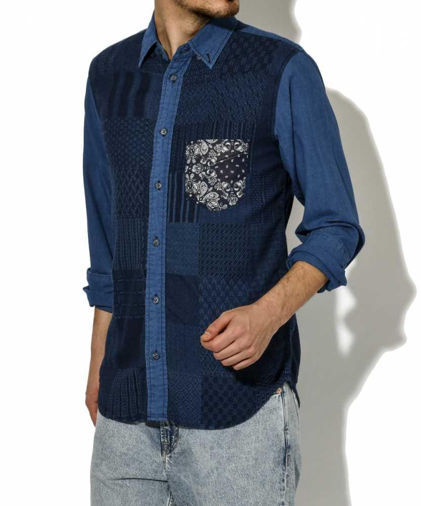 インディゴパッチワークシャツ