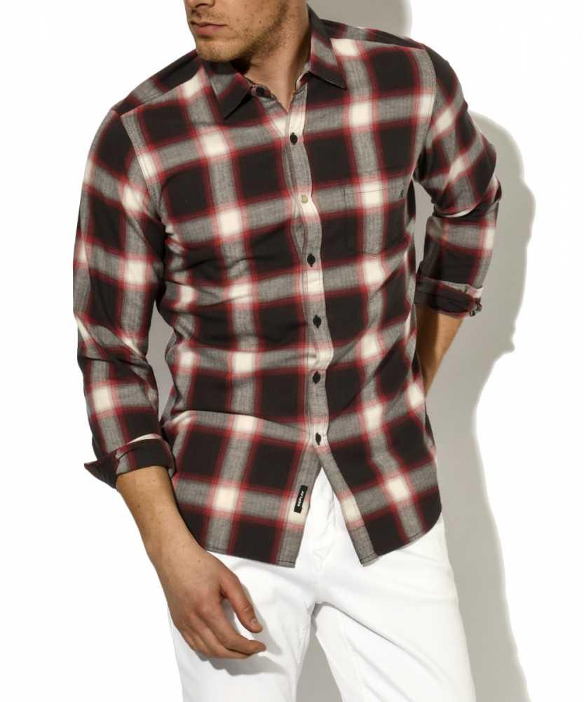 ヘリンボーンチェックシャツ