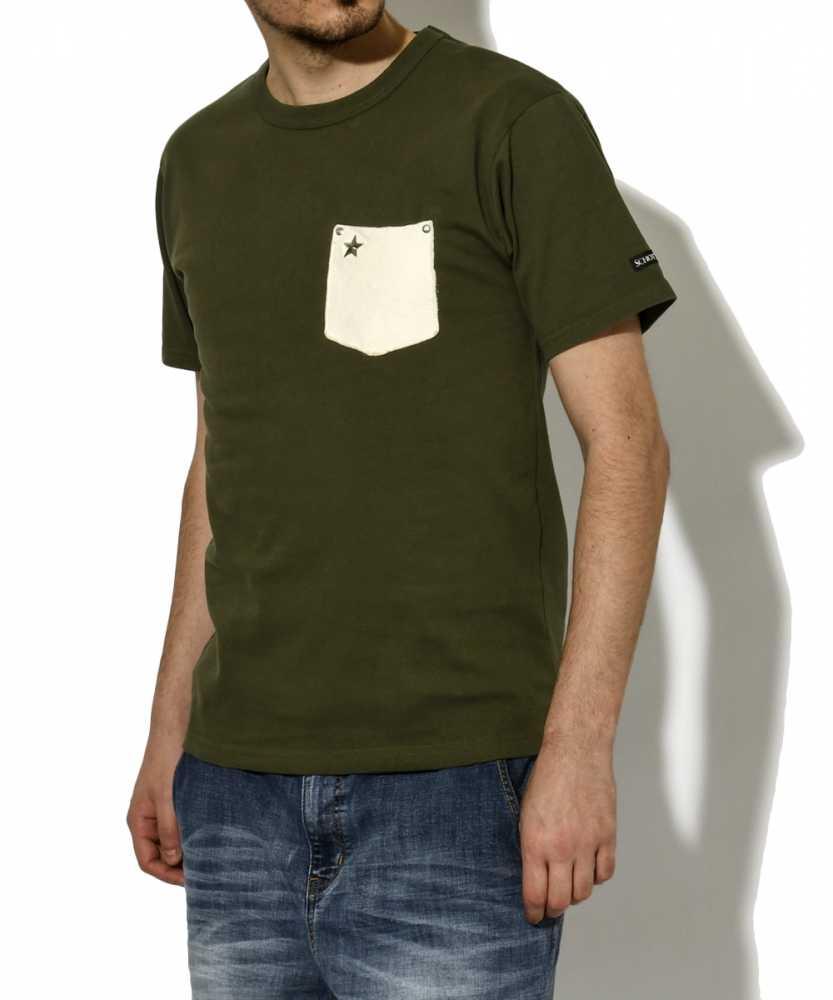 レザーポケットクルーネックTシャツ