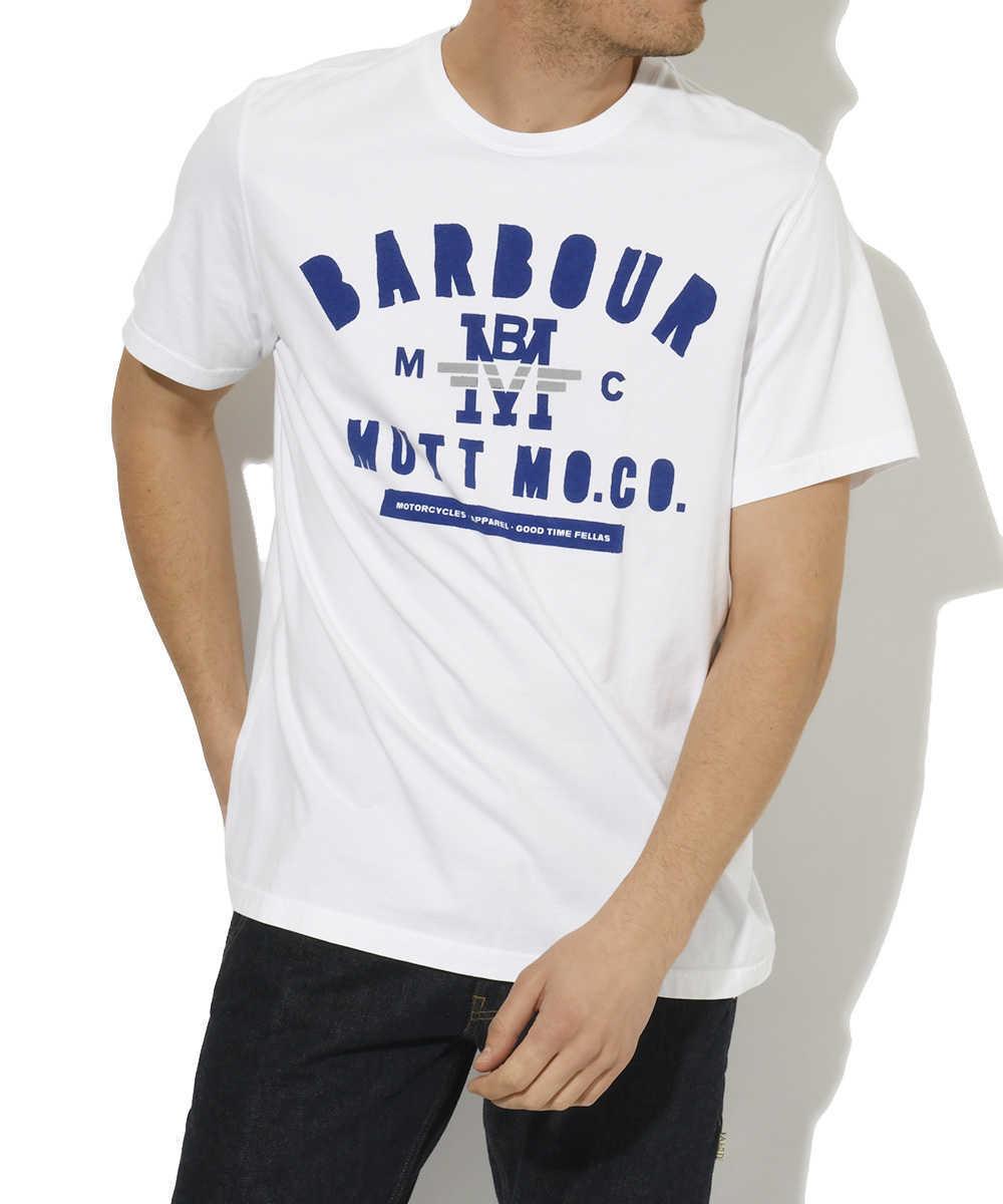 クールネックプリントTシャツ