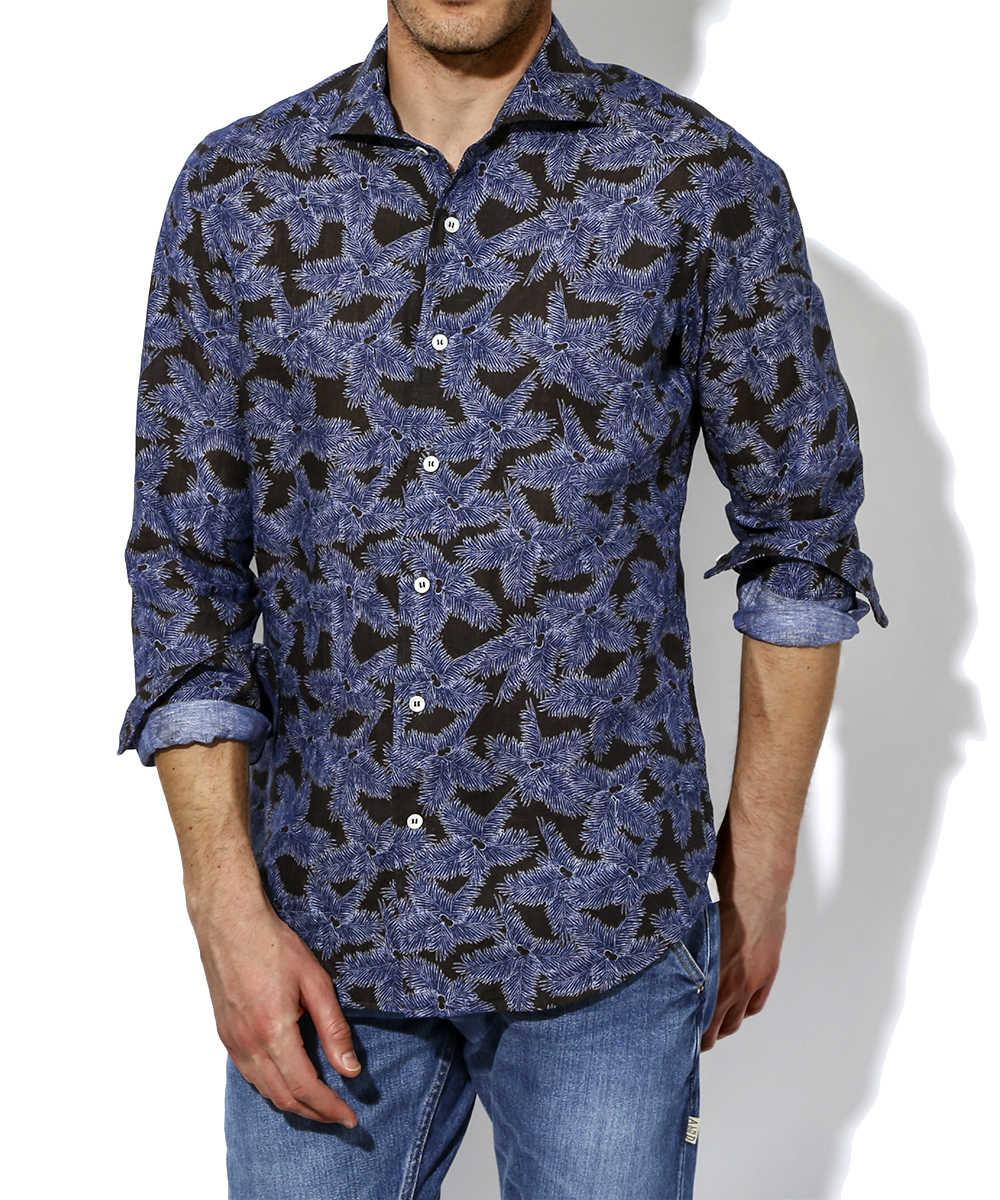 リネンデラベプリントシャツ