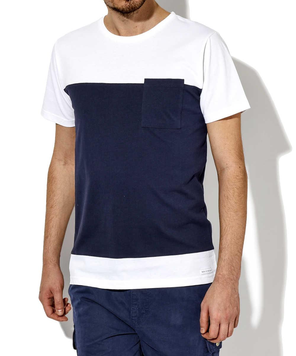 クルーネックワイドボーダーポケットTシャツ