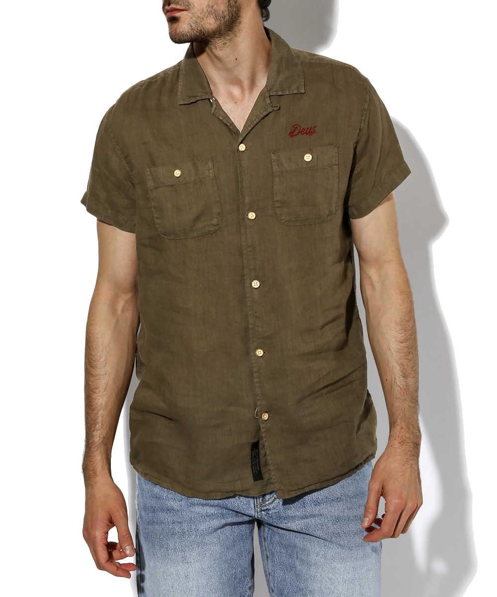 開襟リネンシャツ