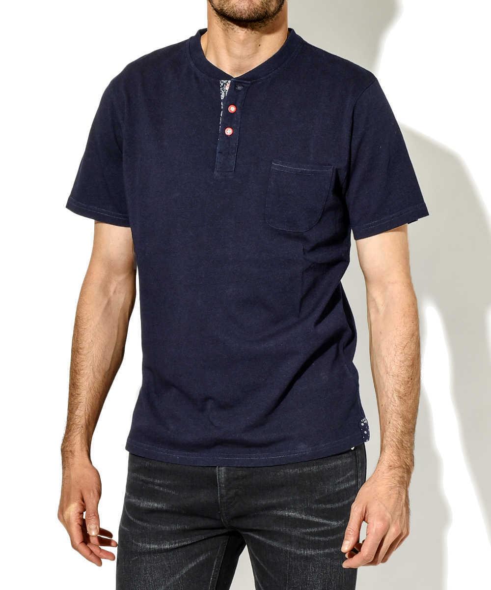 インディゴヘンリーネックポケットTシャツ