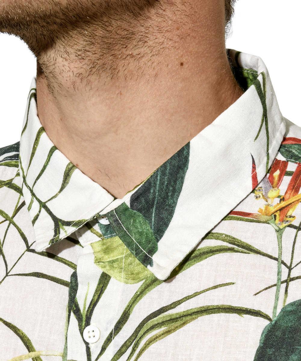 総柄リネンシャツ