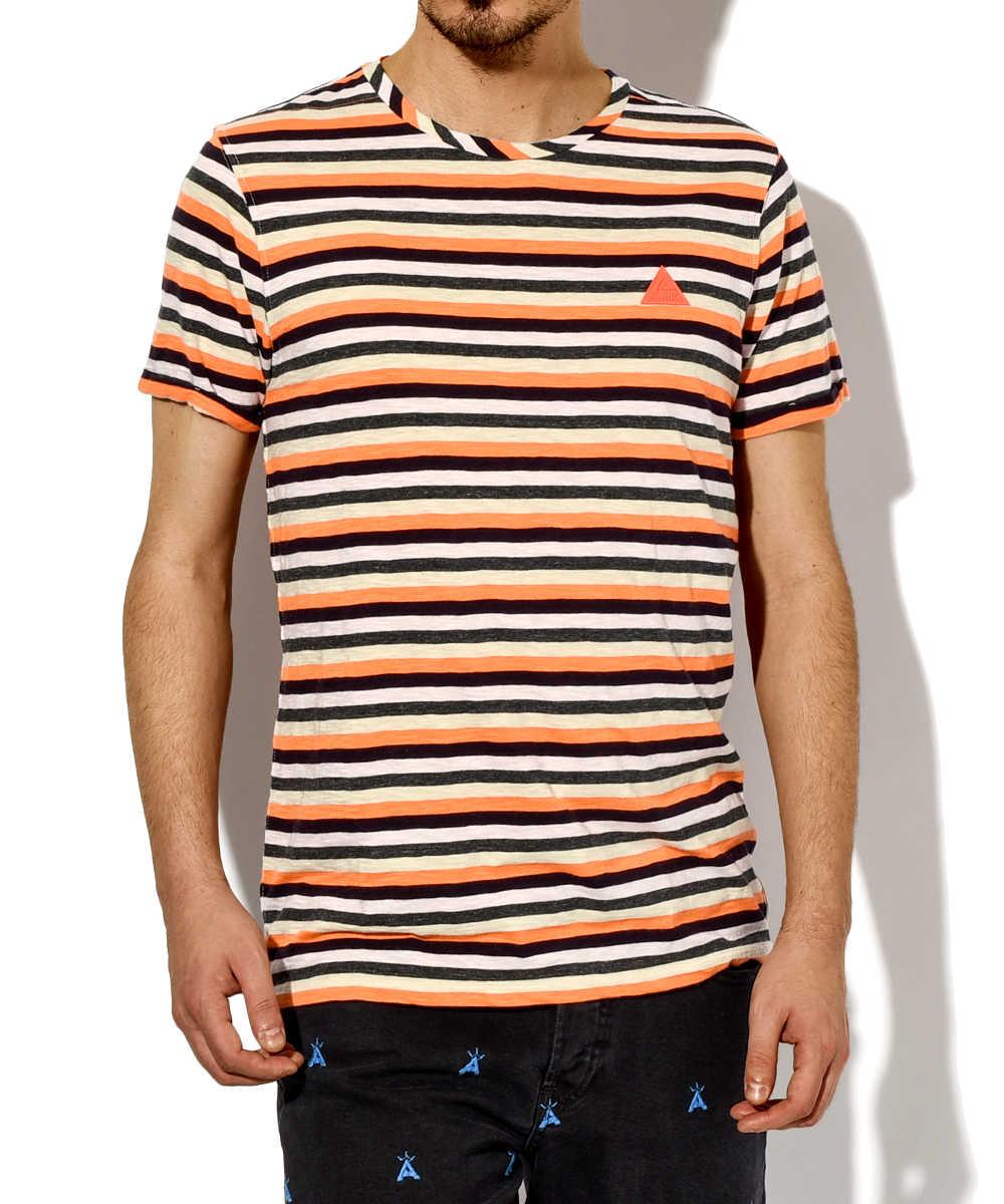 クルーネックマルチボーダーTシャツ
