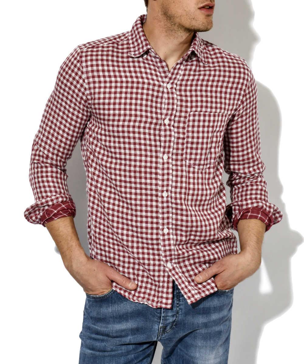 ダブルガーゼギンガムチェックシャツ