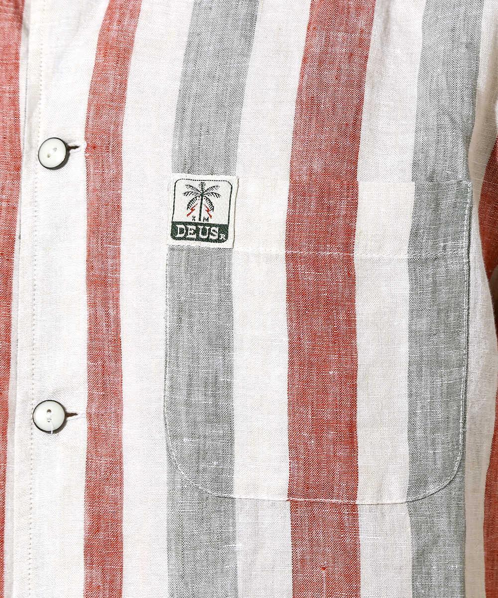 ストライプ柄開襟シャツ