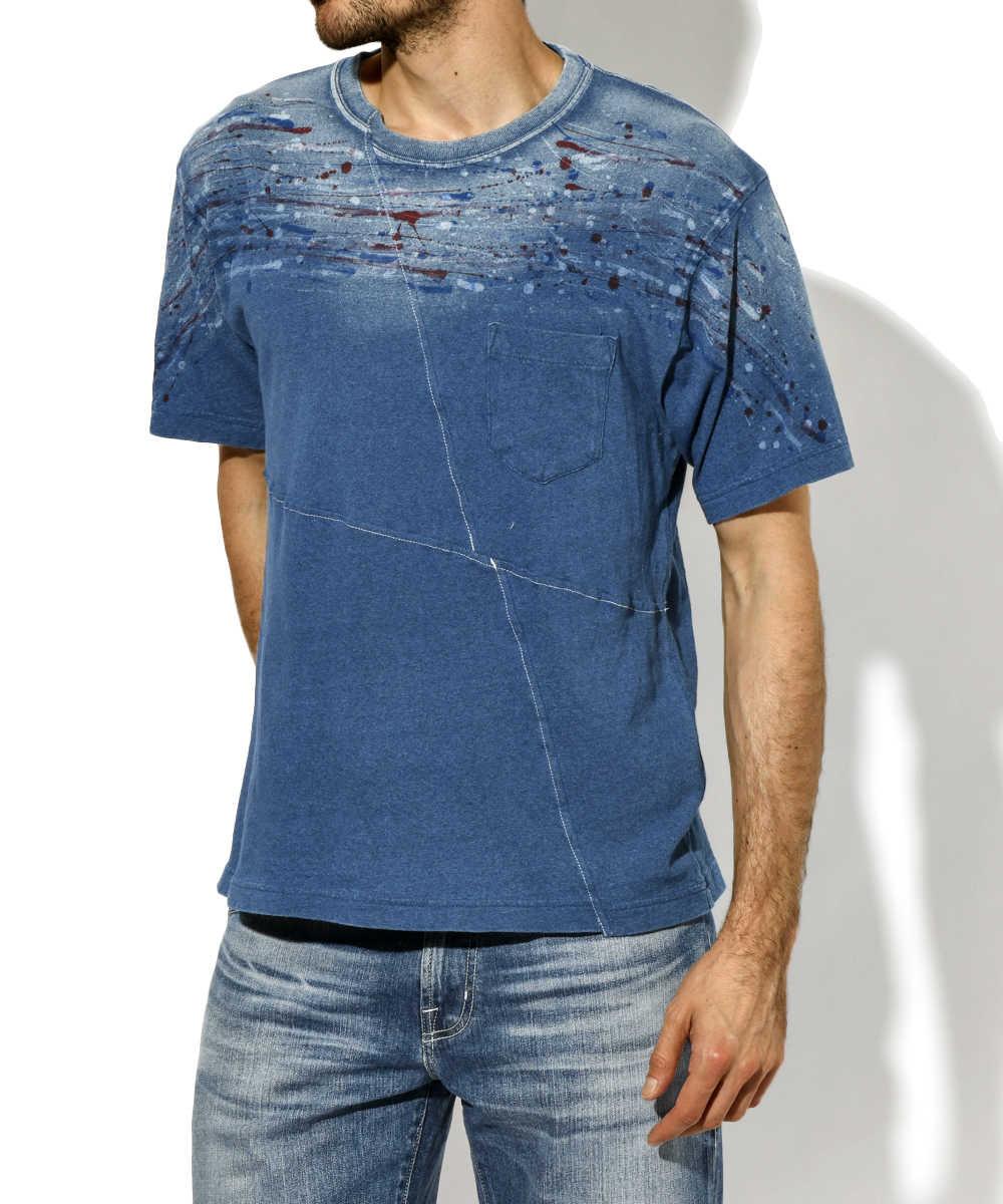 インディゴペイントTシャツ