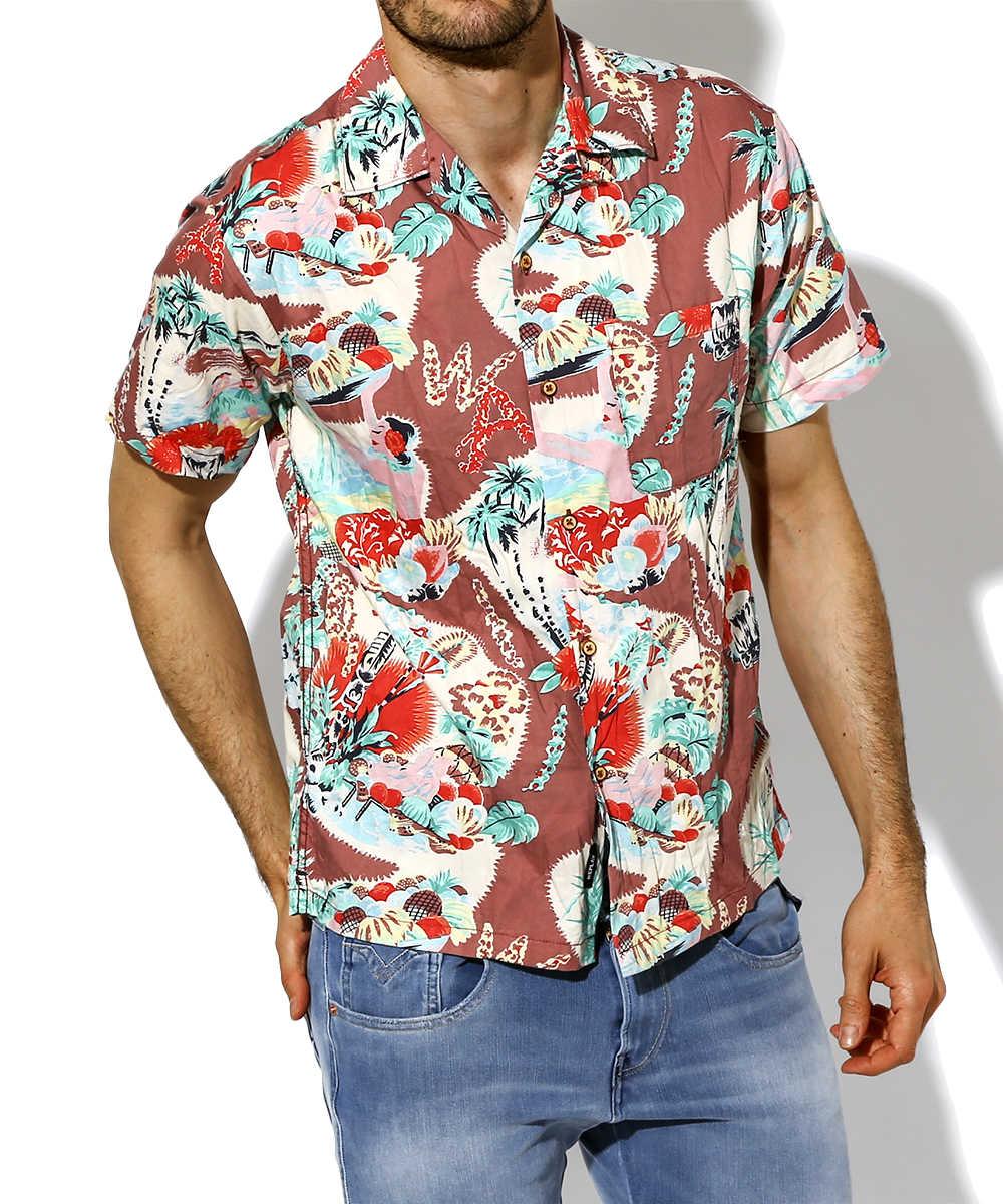 ハワイアン柄開襟シャツ