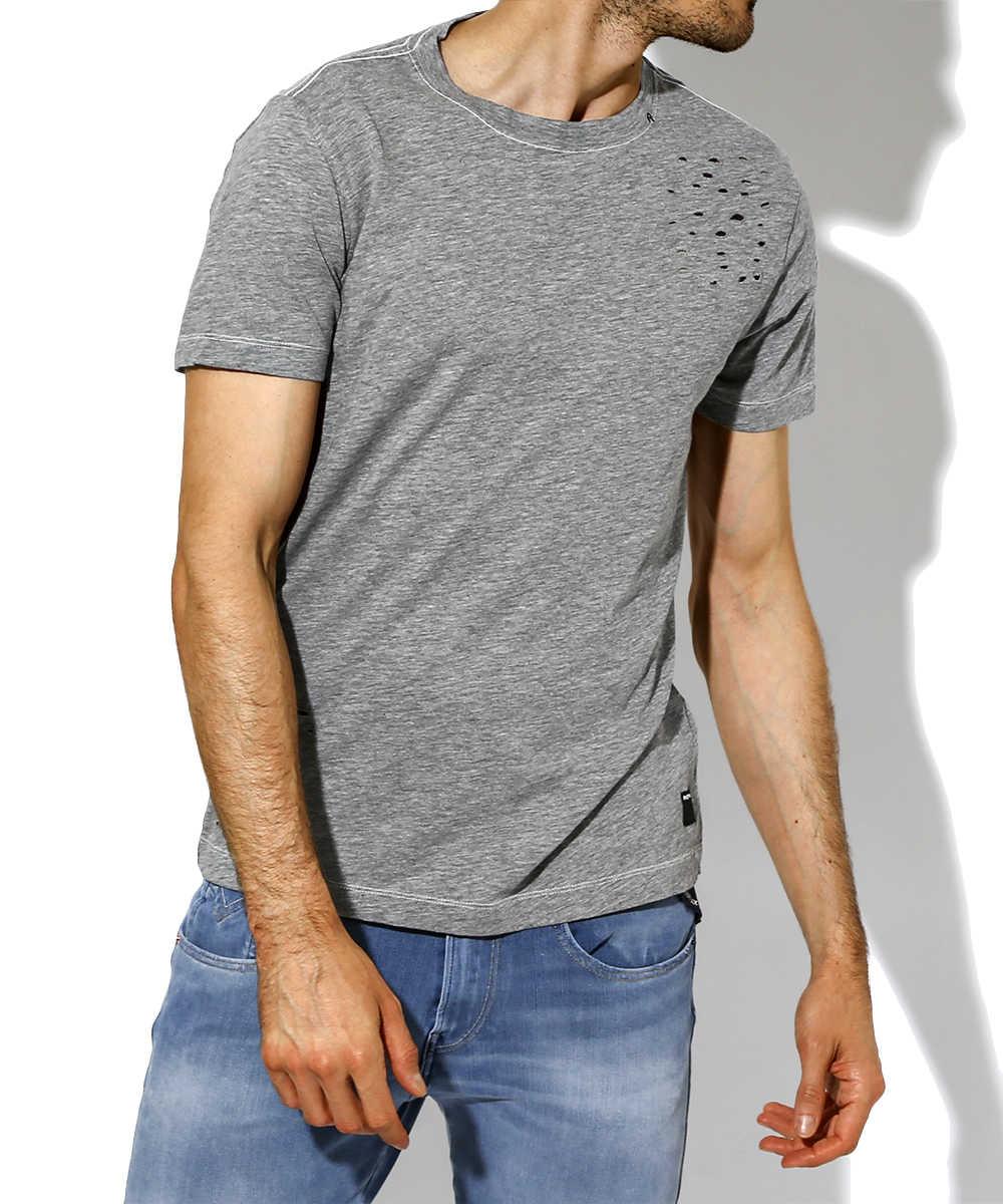 クルーネックダメージTシャツ