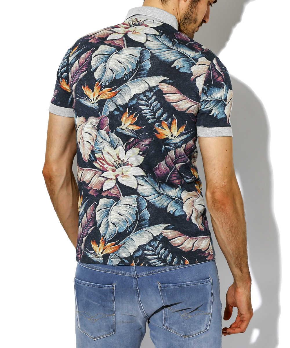 ボタニカル柄ポロシャツ