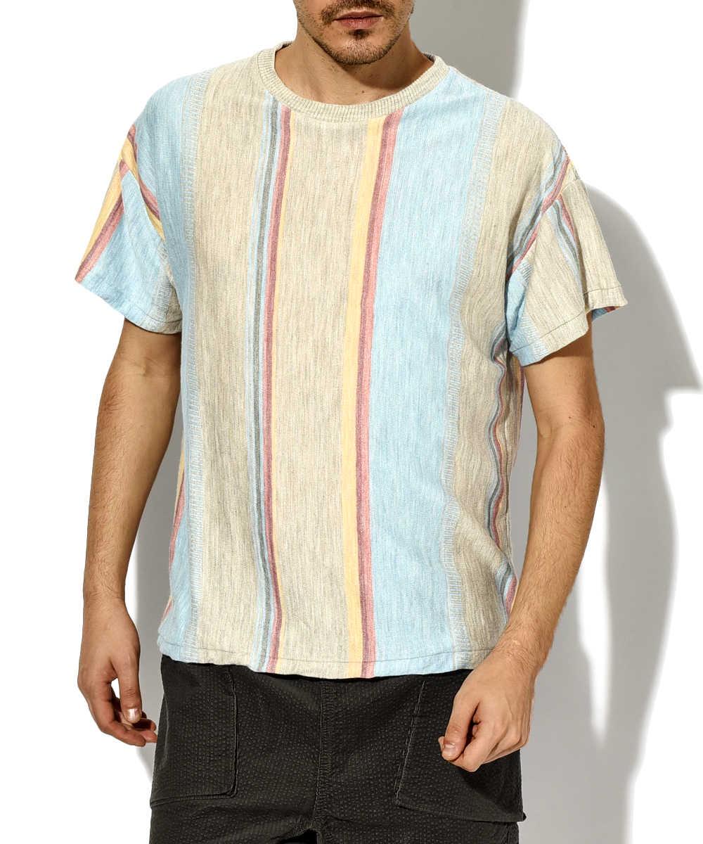 リネンストライプニットTシャツ
