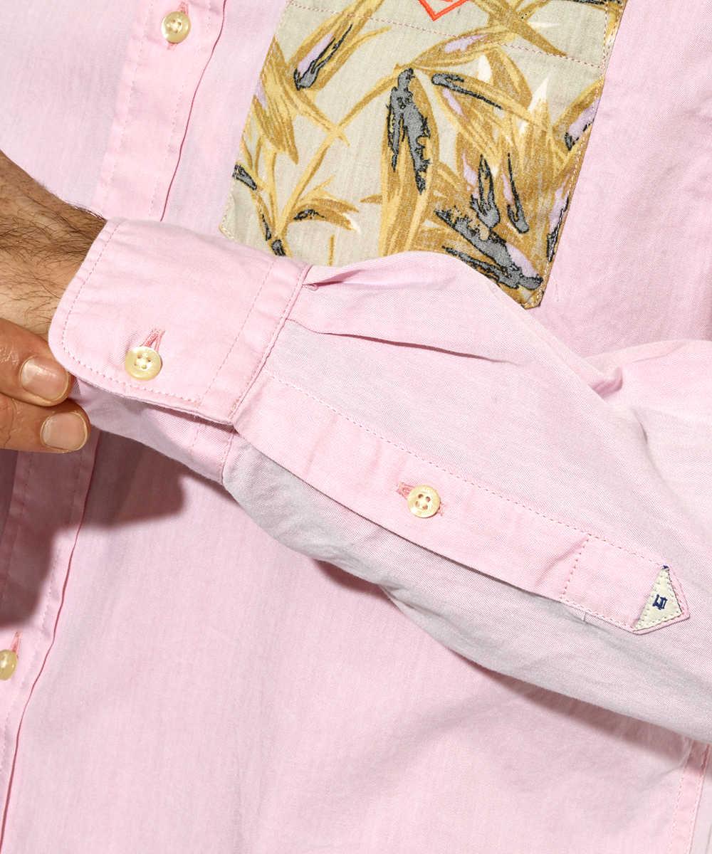 柄ポケットシャツ