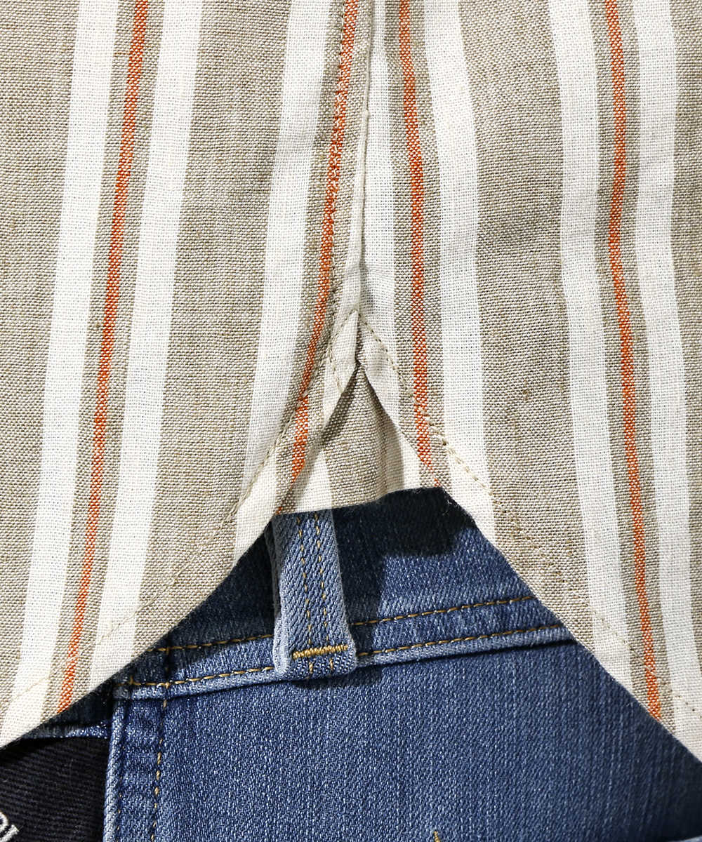 ストライプ柄半袖シャツ