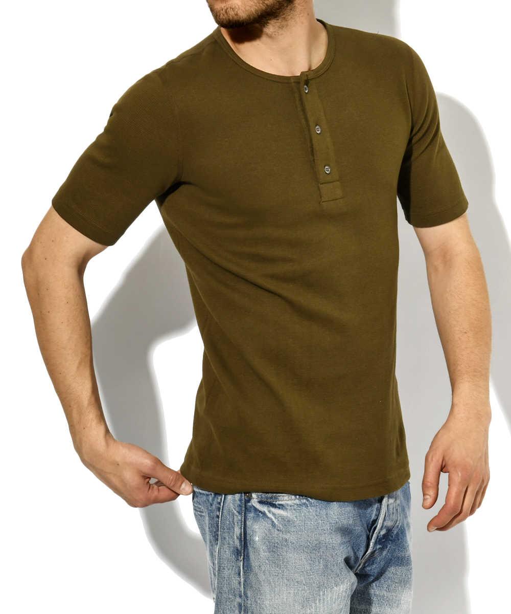 ブラッシュドサーマル ヘンリーネックTシャツ