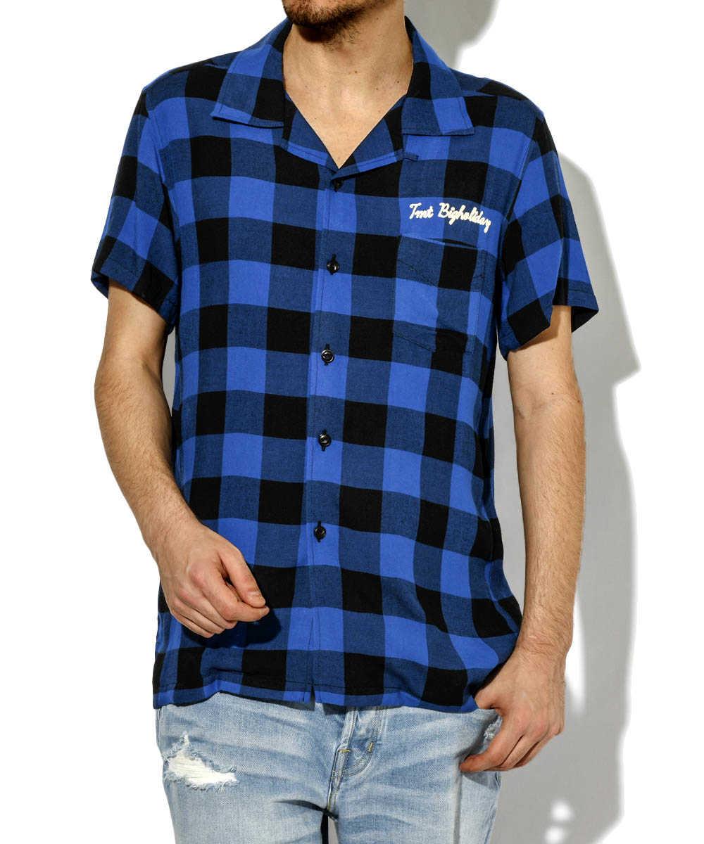開襟チェック半袖シャツ