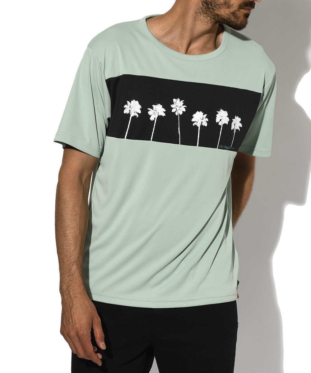 パームストライプス×フラッシュパッカー ナノ撥水Tシャツ