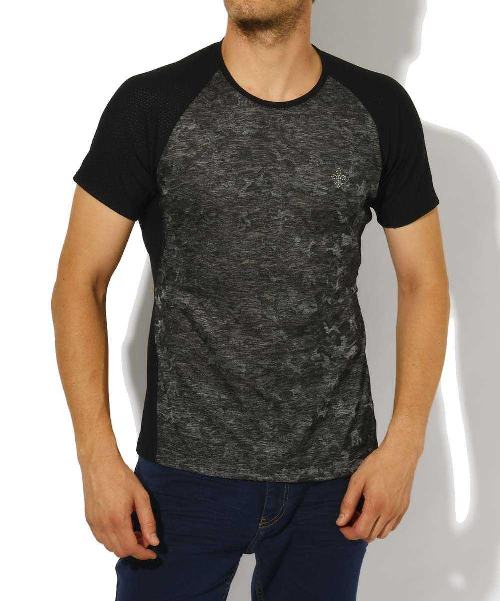 カモフラクルーネックTシャツ
