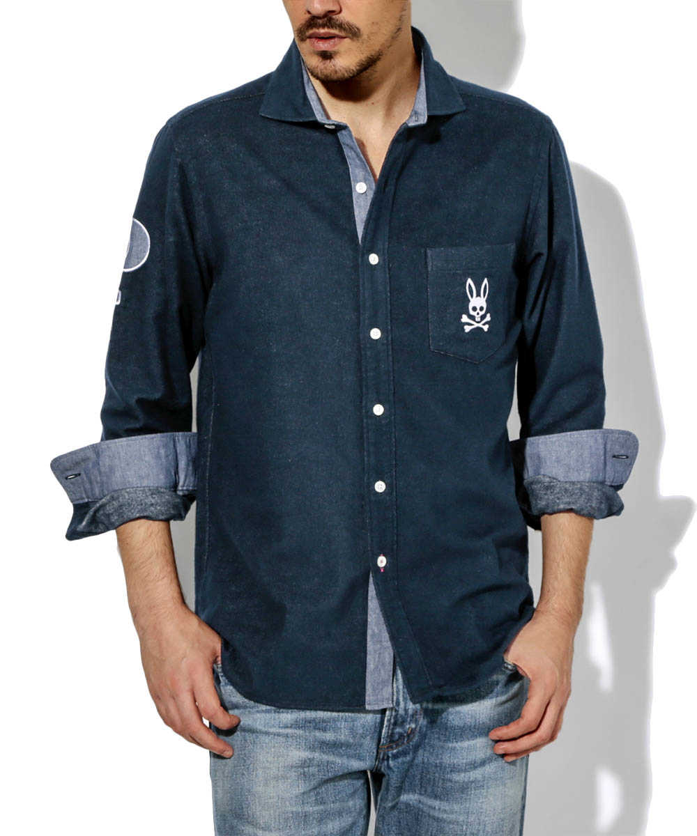 レタードネルシャツ