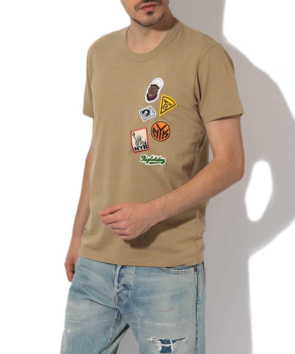 クルーネックワッペンTシャツ