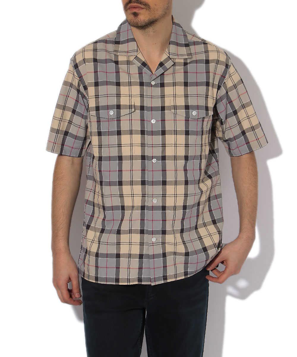 オープンカラーチェックシャツ
