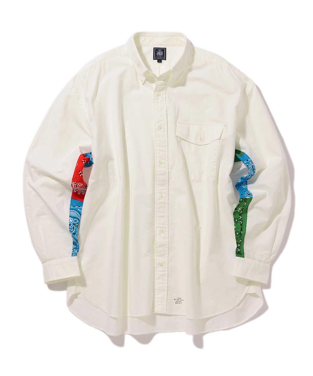 バンダナ柄切り替えボタンダウンシャツ