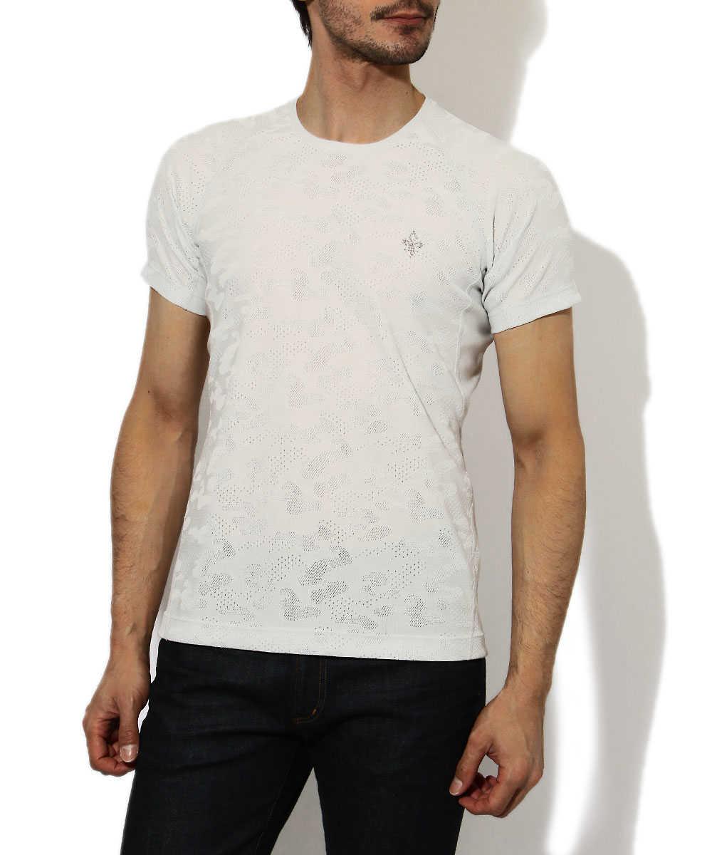 カモフラジャカードクルーネックTシャツ