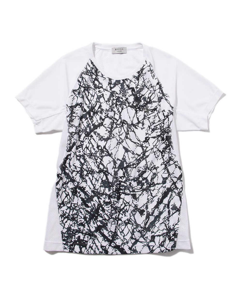 カモフラジャカードプリントクルーネックTシャツ