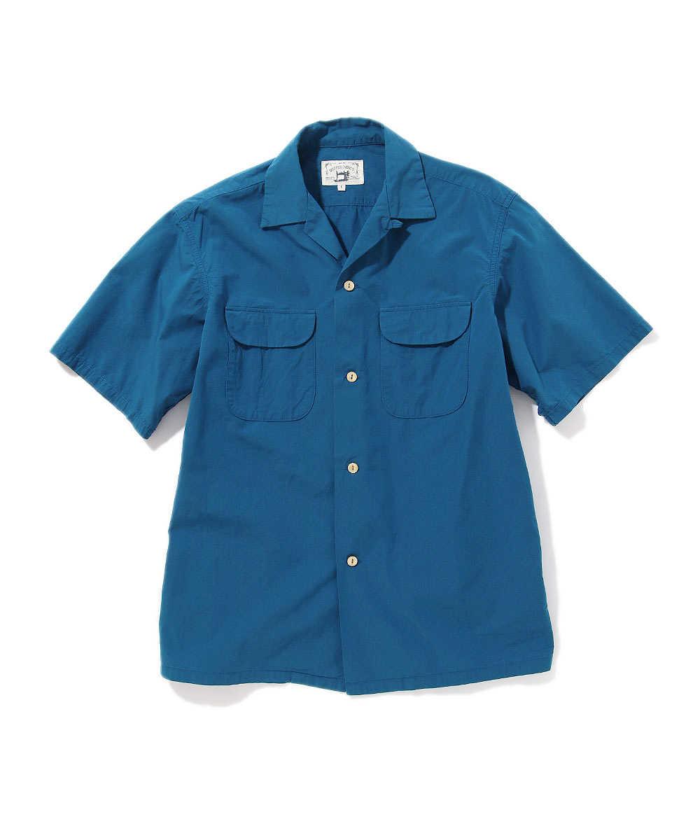 インディゴタイプライターオープンカラー半袖シャツ
