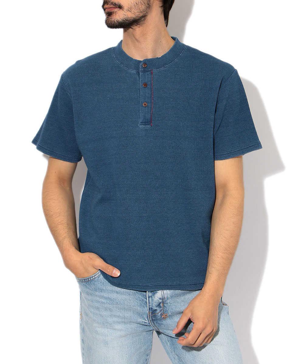インディゴワッフルヘンリーネックTシャツ