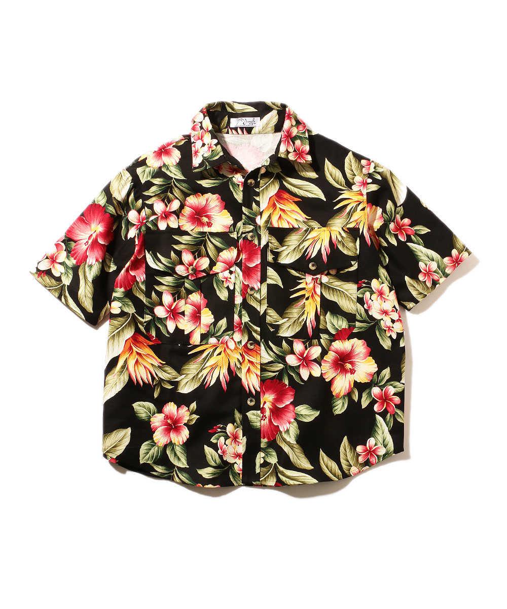 ボタニカル柄シャツ