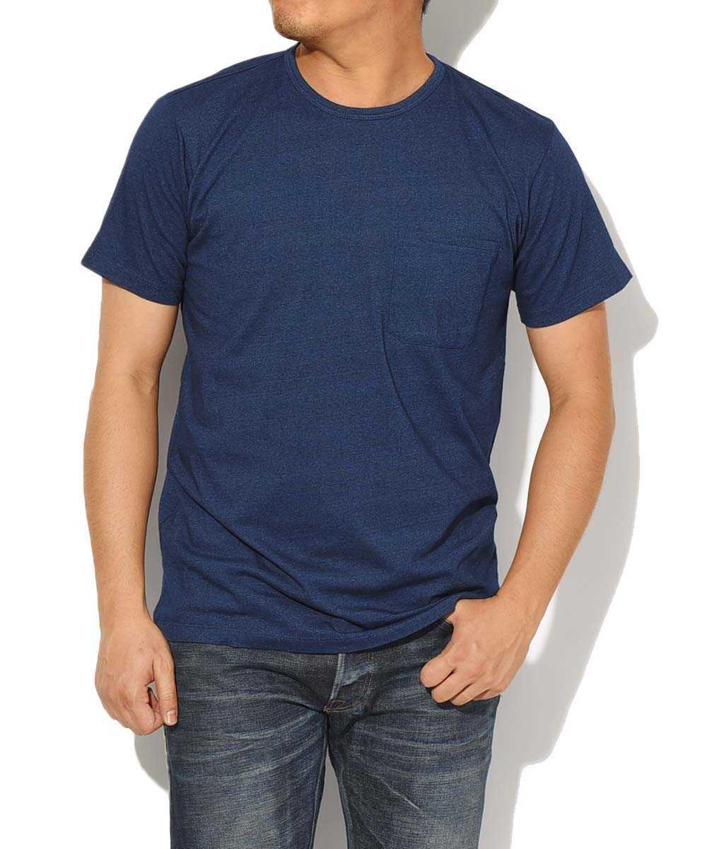 インディゴクルーネックポケットTシャツ